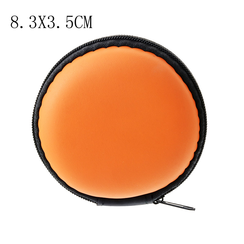 Чехол-контейнер для монет, наушников, защитная коробка для хранения, цветные наушники чехол для путешествий, сумка для хранения наушников, кабель для передачи данных, зарядное устройство - Цвет: Orange Round 8cm