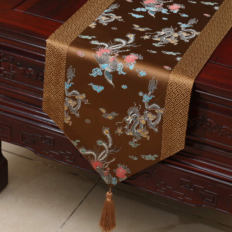 Brand New Noble Classic Mixed ChineseTable Runner flower Bed Flag Wedding Decor cloth beauty Dragon pattern Brown Flower in Tablecloths from Home Garden