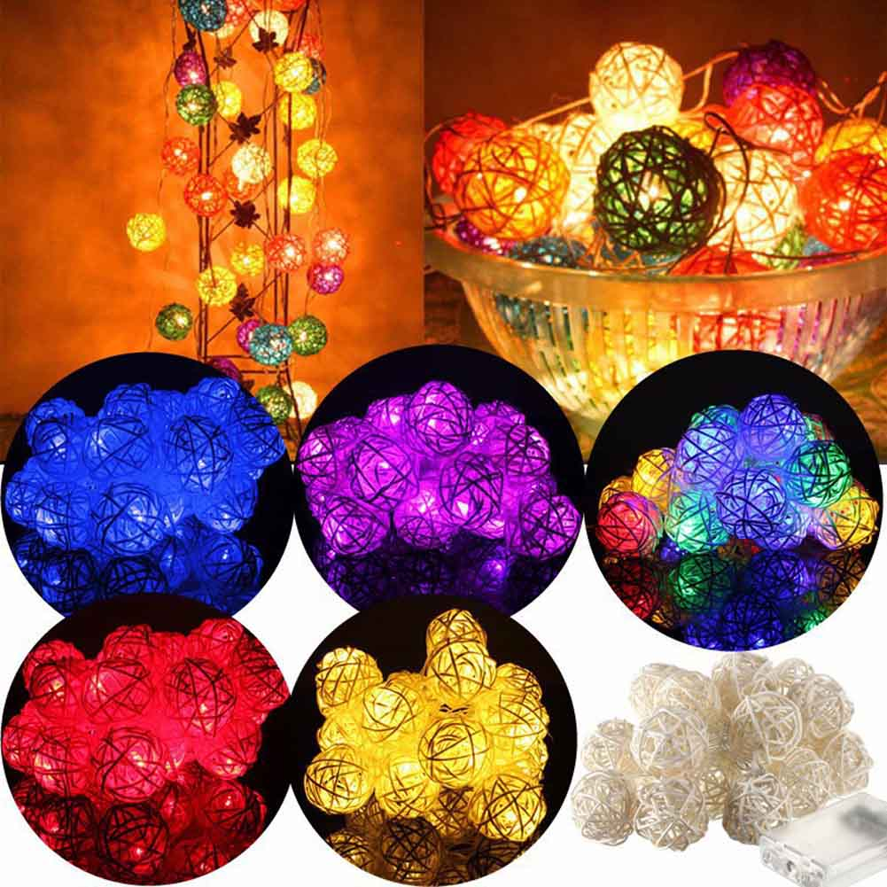 2.2M 20LEDS/Set Rattan Balls String Lights With Battery box FOR Wedding Party Holiday Decoration