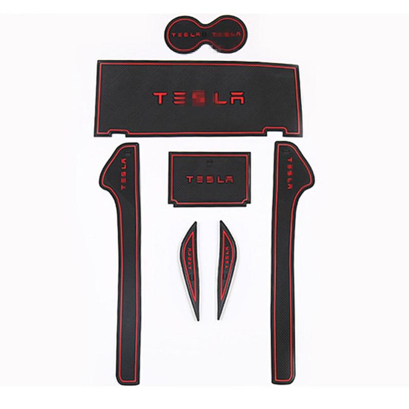 Car Non-Slip Interior Cup Pad Door Mat Covers Cup Mat Stickers Fit For Tesla Model X 2016 2017 7pcs Door Groove Mat intrepid international fleece bareback pad non slip