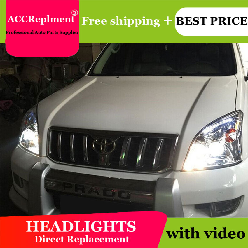 Car Styling for Toyota Prado LED Headlights 2003-2009 Prado LED DRL Lens Double Beam H7 HID Xenon bi xenon lens сумка dkny dkny dk001bwzky62