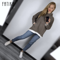 FATIKA Basic Casual Sweatshirts Women Patchwork Hooded Sweatshirt Long Sleeve Loose Thick Pullover Spring Autumn 2019 New