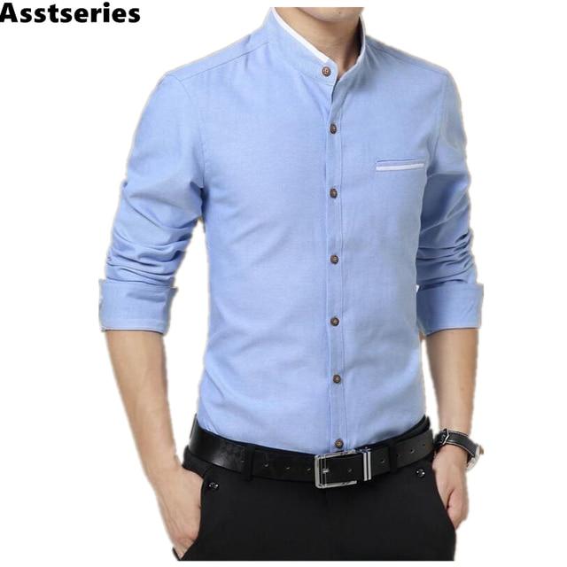 2017 nueva marca camisa Casual para hombre de manga larga cuello con bandas  de fácil cuidado 2915377ea2542