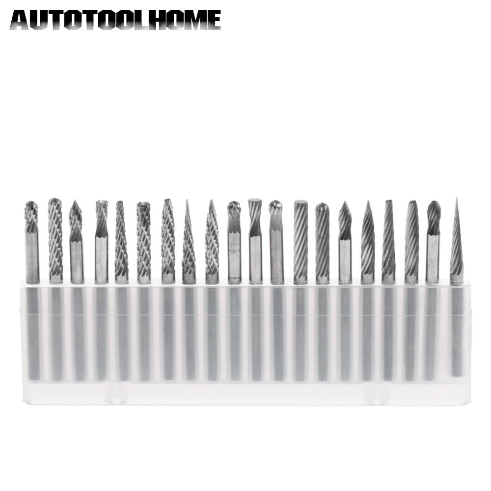 цена на 20pcs 1/8 Tungsten Carbide Rotary Burrs Set For Dremel 4000 Rotary Tools Milling Cutter Engraving Bits Cutting Edge Dia 3mm