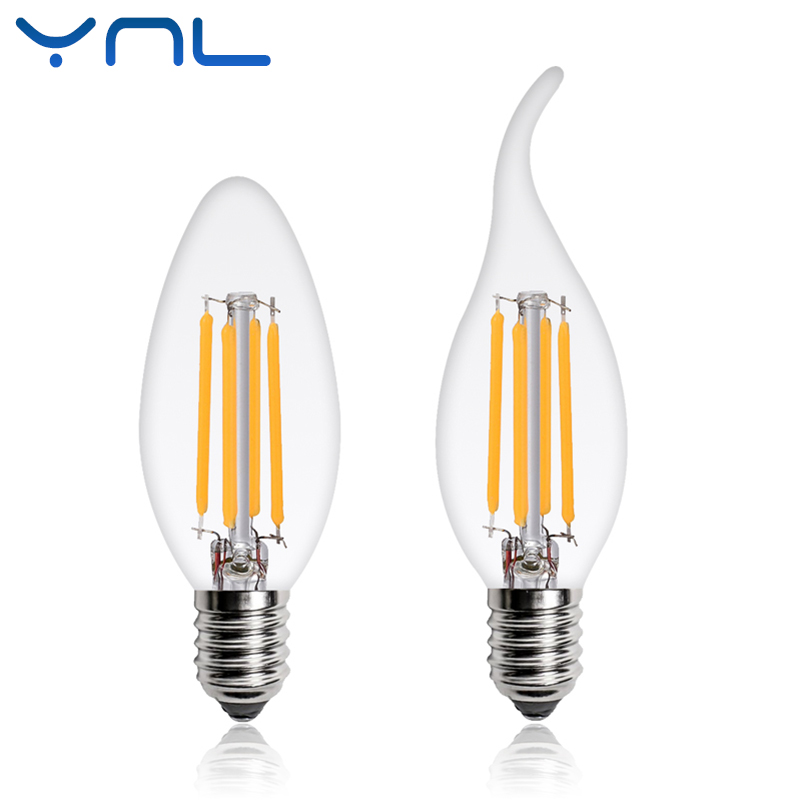YNL LED Filament Bulb E14 Candle Light Bulb 2W 4W 6W Edison Bulb C35 220V Retro Antique Vintage Style Warm White LED Glass Bulb hdx lzd 603b e14 4w 12lm 3500k warm white light 32 led candle light bulb golden