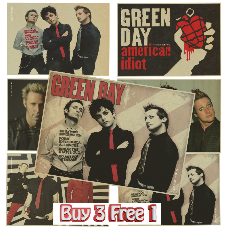 Punk music band green day poster bar house room decoration vintage poster wall stickers in wall stickers from home garden on aliexpress com alibaba