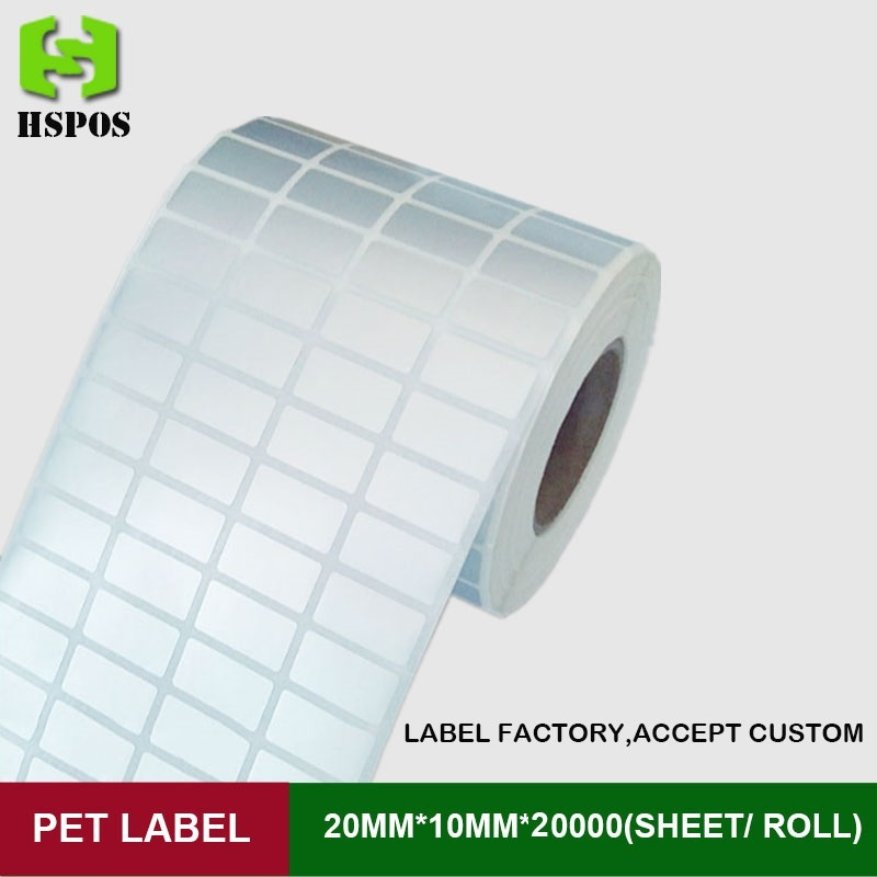 Silver PET label 20*10mm 20000pcs one roll four row self adhesive logo stickers labels waterproof high temperature resistant matte silver self adhesive paper label printing diy crafts sticker for library book electronics blank bar code printed labels