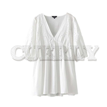 CUERLY women embroidery hollow out mini dress three quarter sleeve female casual white dresses summer straight vestidos