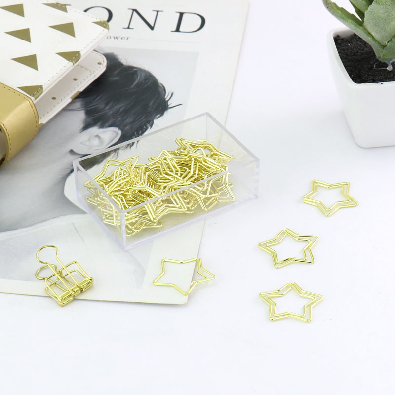 30pcs/box Gold Metal Paper Clips Star Shape Fashion Memo Clips Bookmarks Stationary Office Accessories School Supplies