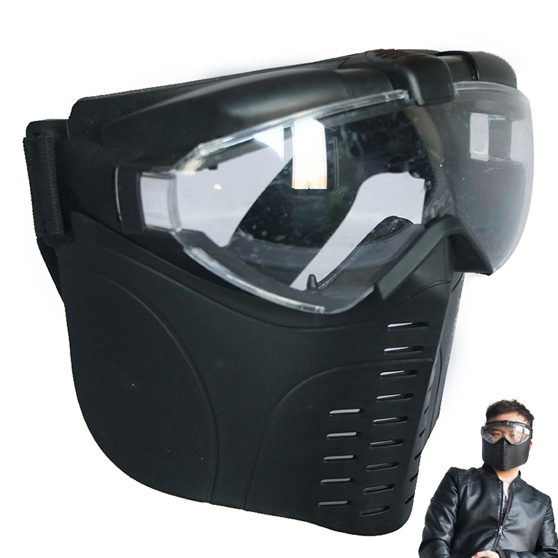 high quality CS mask face protector for shooting archery tactical outdoor game tag safety protective black hunting guard cordura stylish war game protection face mask shield black