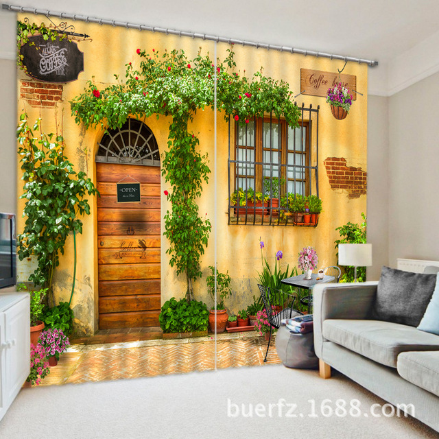 Coffee House 3D Printing Blackout Curtains Bedding Room Living Room Or  Hotel Drapes Cortians Sunshade Window