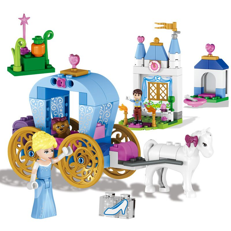 Lele 37002 122st Vänner Prinsessan Cinderella Pumpa Carriage Building Blocks Kompatibel Duploe 41053 Leksaker för tjejer
