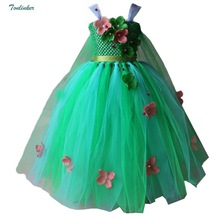 Little Girls Princess Jasmine Costumes Snow Queen Flowers Sleeveless Tutu Dress Cosplay Halloween Birthday Party Fancy