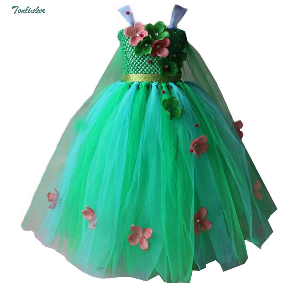 ae2100a14acf Little Girls Princess Jasmine Costumes Snow Queen Flowers Sleeveless Tutu Dress  Cosplay Halloween Birthday Party Fancy