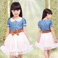 2016 новая Коллекция Весна и Лето Детская одежда хлопок джинсовые платья девушка цельный ребенок старинные платье принцессы с пояс