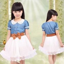 2016 new Spring & Summer Children clothing cotton denim dress teenage girl one-piece child vintage princess dress with belt