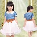 2016 nova Spring & Summer Crianças vestido denim roupas de algodão adolescente menina one piece-criança vestido de princesa do vintage com cinto