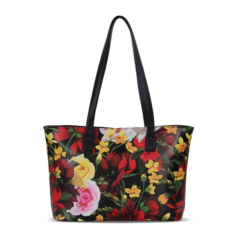 VEEVANV Ladies Casual Tote Handbag Leather Women Messenger Large Shoulder Bag Vintage Flower Printing Female Handbag Office Lady