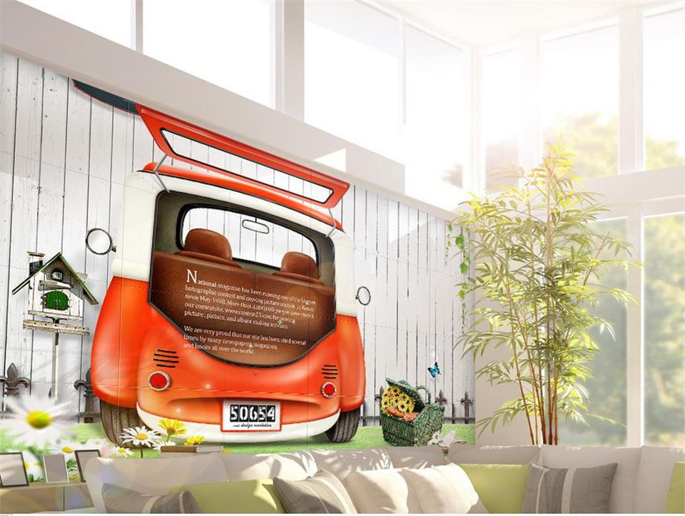 Custom 3D Photo Wallpaper Kids Room Mural Children's cartoon car plank background wall 3D Photo HD Painting Non-Woven Wallpaper free shipping hepburn classic black and white photographs women s clothing store cafe background mural non woven wallpaper