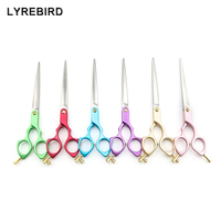 Professional Pet Dog Grooming Scissors 7 Inch Dog Hair Scissors 6 Color Handle Super Japan 440C Lyrebird TOP CLASS 5PCS/LOT NEW