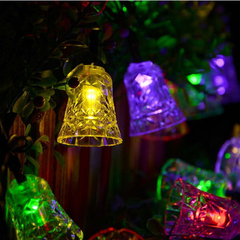 Outdoor Holiday Light 4.8M 20LEDs Colorful Decoration Bells Garland  Waterproof Christmas Outdoor Solar Lamp LED