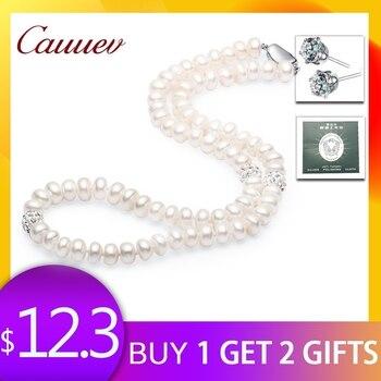26a5641694e4 Collar de perlas Cauuev 2018 joyería de plata de ley 925 para mujer bola de  cristal de 8-9mm collar de perlas de agua dulce Natural joyería