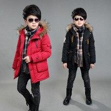 Childrens Double Zipper Jackets Boys Thickening Fur Collar Hooded Cotton Jacket Children Winter Outerwear Coats
