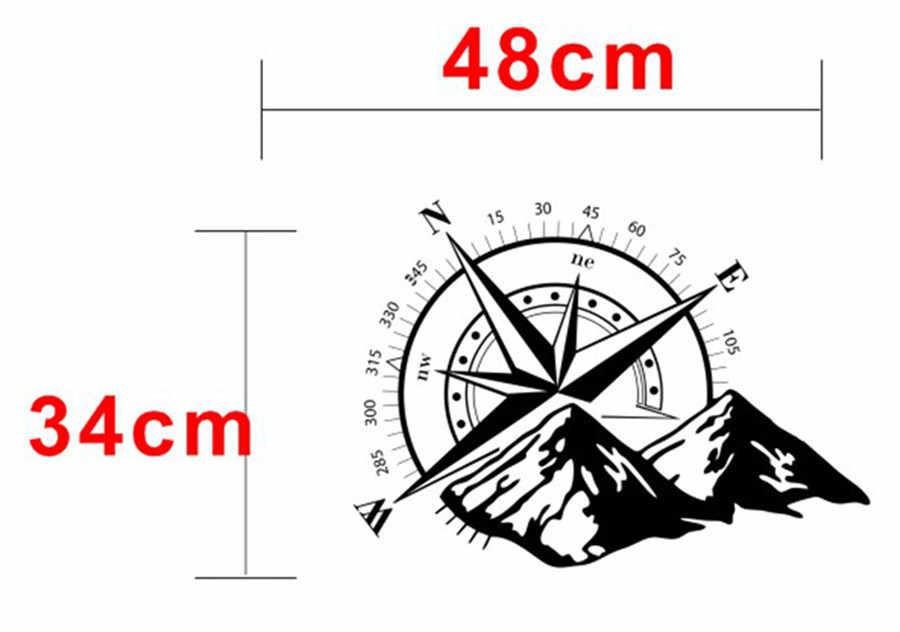 White Car Sticker Compass Mountain Car Hood Graphic Decal