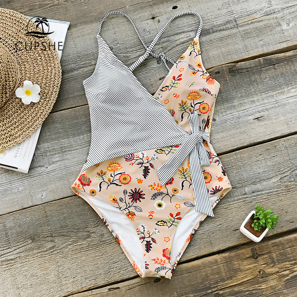 Aliexpress Com Buy Cupshe Floral And Striped One Piece