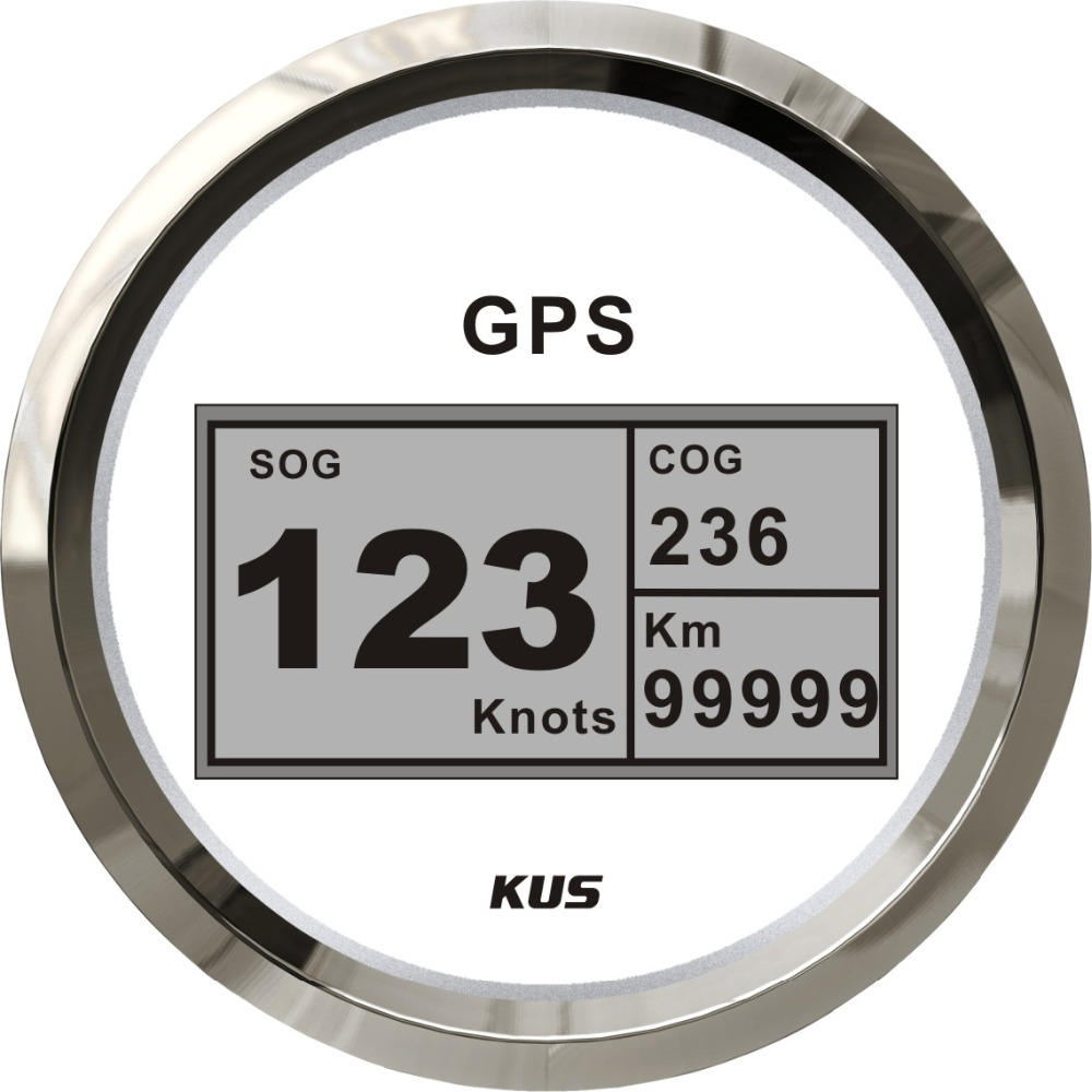 KUS Waterproof 85mm Marine Digital GPS Speedometer Odometer Gauge 12V 24V