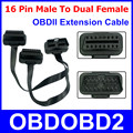 OBD2 Extension Cable 16PIN Male To Dual Female Connector OBDII Diagnostic Adapter Support All 16 Pin Socket Cars Tools ELM327