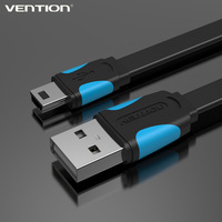 Vention 1.5m mini usb flat cable, good quality usb data charger cable for cellular phone MP3 MP4 GPS Camera HDD Mobile Phone