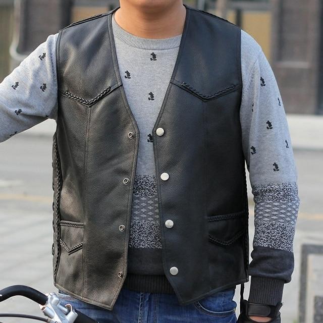 Chaleco de cuero de los hombres motocicleta motociclista Club vaca Cuero  auténtico chaleco negro 2abbfc5233ec