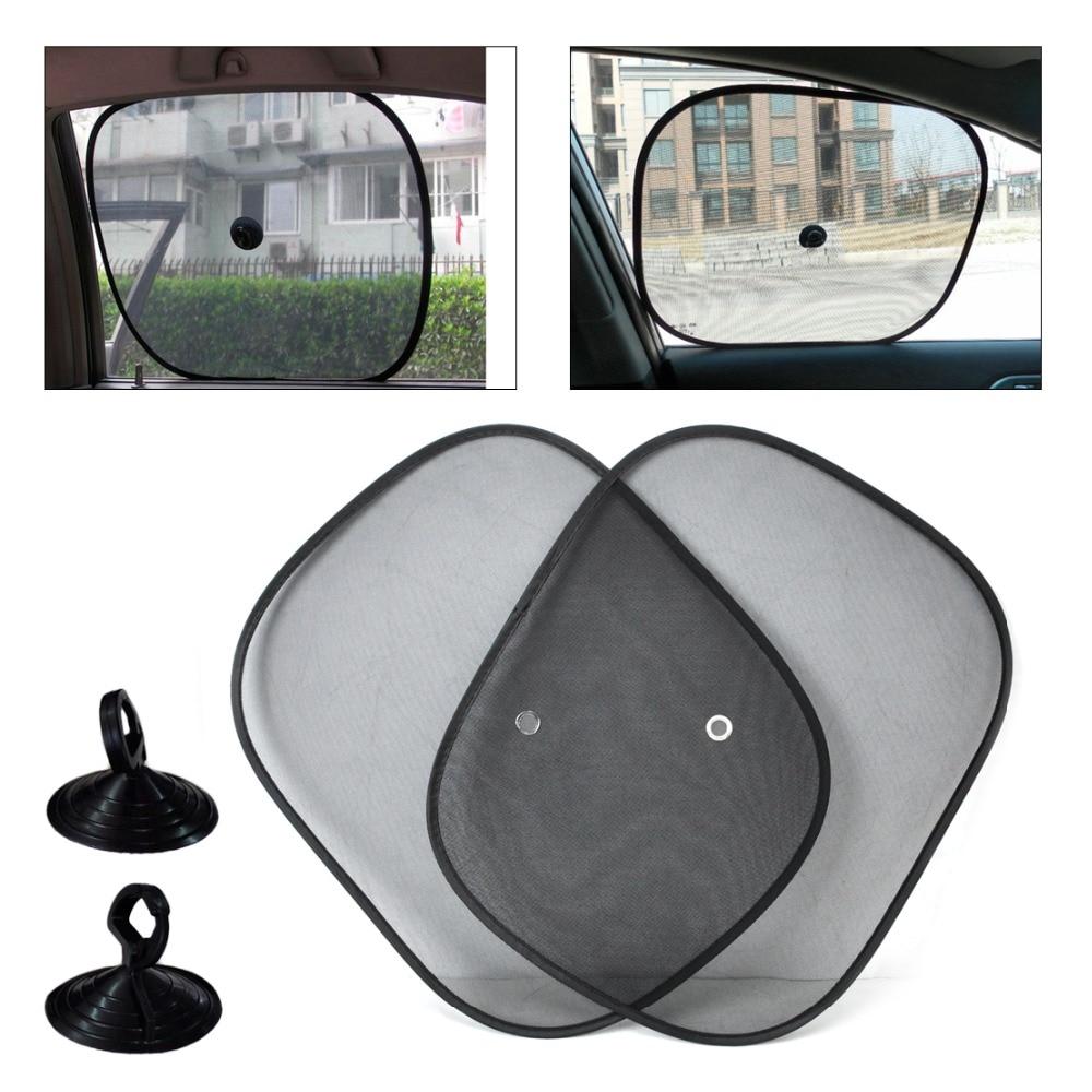 2pcs Black Foldable Car Side Window Sun Shade Screen Mesh-pattern Visor Shield Cover for Audi A4 A6 BMW E90 Kia Rio Mazda 3 6 VW