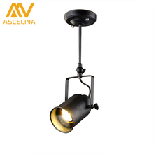 ASCELINA LED Spotlights American Vintage Loft Pendant Light Iron led lamp E27 spotlight Mercantile Lighting for Bar/Cafe