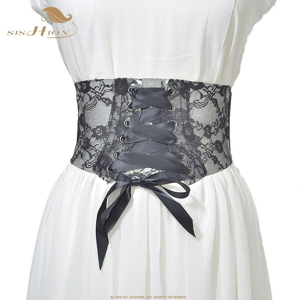 SISHION Fashion Corset Belt For Women Transparent Lace Wide Belt Female Bowknot Weaving Retro Waist Wide Belt SP0239