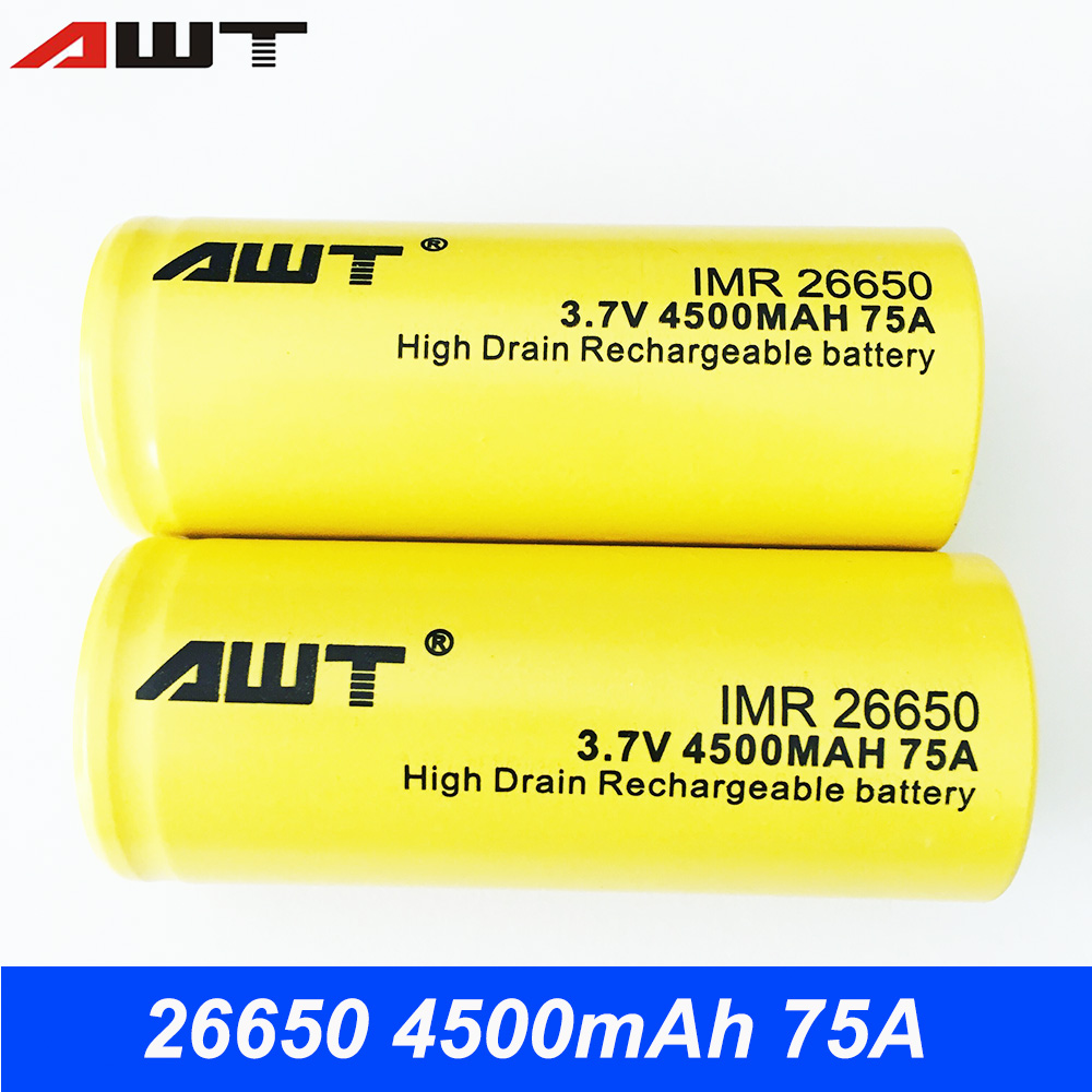 26650 Battery AWT 3.7V 4500mAh 75A Li-ion Rechargeable Batteries 26650 For Powerful Flashlight Tools Toys 26650 Battery T028