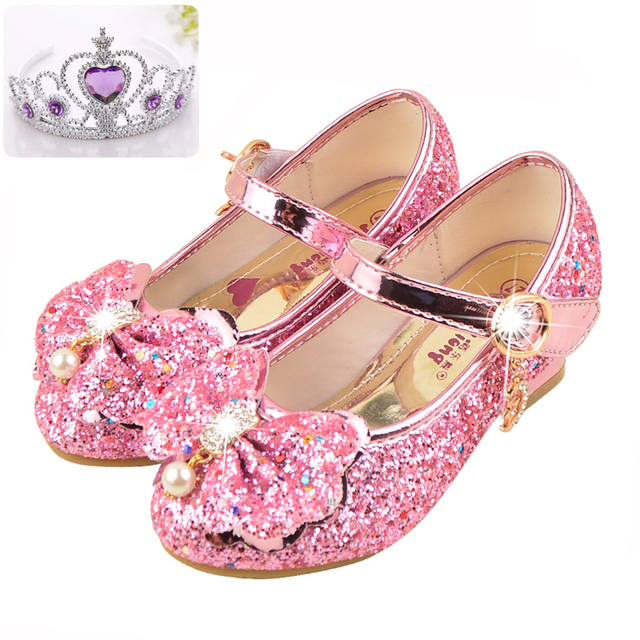 48cd5d1e590c3 US $23.08 |Sibahe Girls Shoes High Heels Princess Party Shoes Children  Sequined Glitter Dance Shoes Ankle Strap Snow Queen Kids Sandals-in Leather  ...