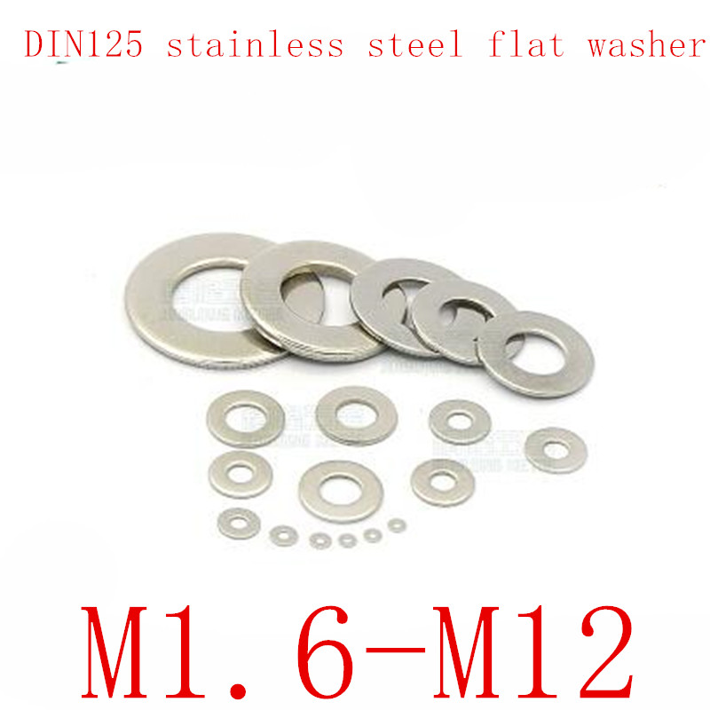 100Pcs DIN125 ISO7089 M1.6 M2 M2.5 M3 M3.5 M4 M5 M6 <font><b>M8</b></font> M10 M12 304 Stainless Steel Flat Machine <font><b>Washer</b></font> Plain <font><b>Washer</b></font> Gaskets image
