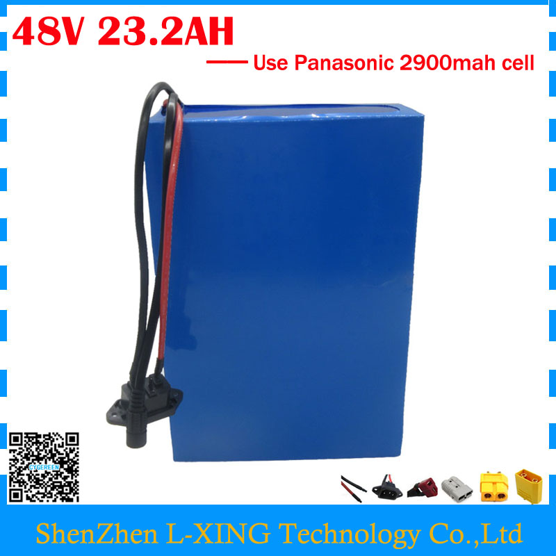 Free customs tax 48V 23.2AH Lithium battery pack 48V 23AH e scooter battery use Panasonic 2900mah cell 30A BMS with 2A Charger us eu free customs duty lithium 48v 1000w e bike battery 48v 17ah for original panasonic 18650 cell with 5a charger 30a bms