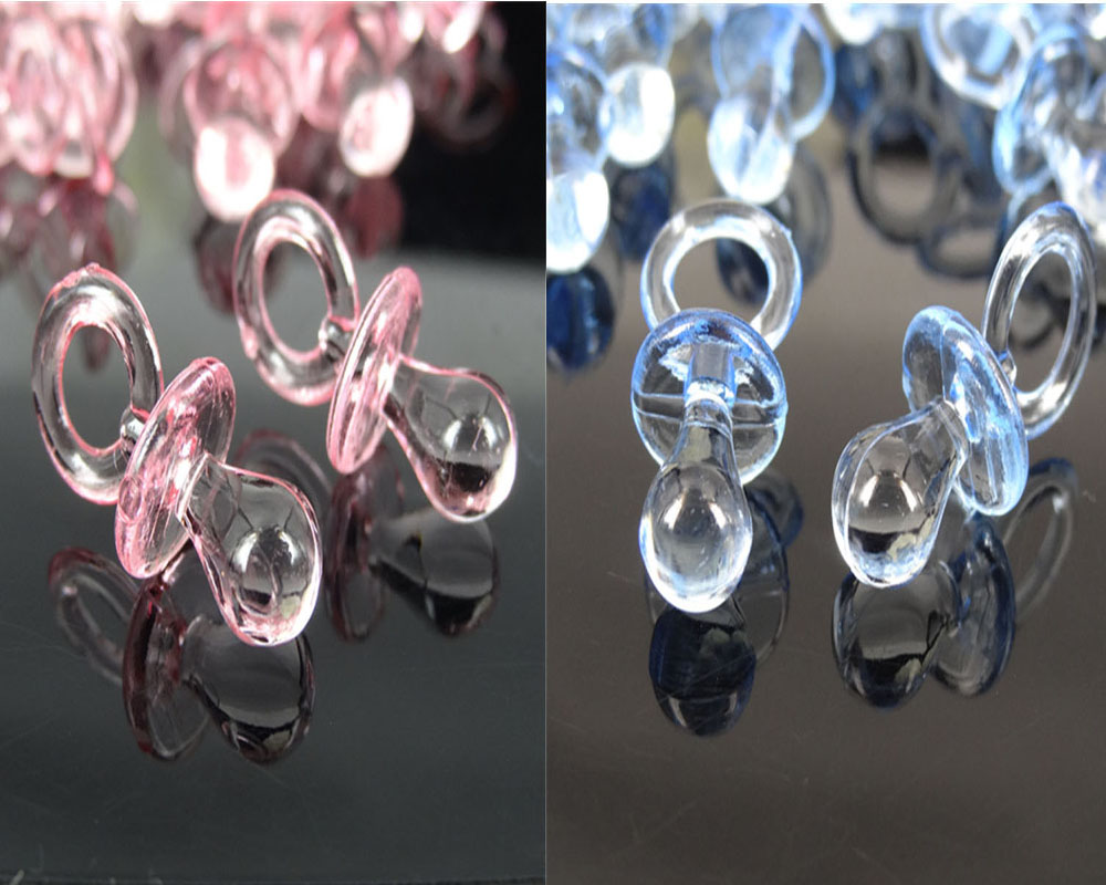 50pcs Small Acrylic Pacifiers Baby Shower Favors Clear For Table Game Party Cake Decorations 11 x 23mm