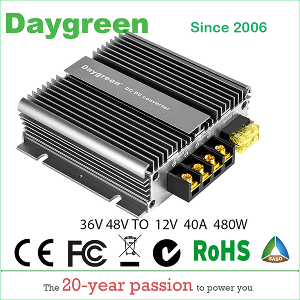 36V to 12V 40A 48V to 12V 40A 480W DC DC Converter Regulator Car Step Down Reducer With ACC Daygreen 36V/48V to 12V 40AMP36V to 12V 40A 48V to 12V 40A 480W DC DC Converter Regulator Car Step Down Reducer With ACC Daygreen 36V/48V to 12V 40AMP