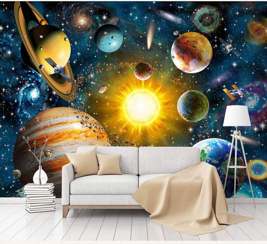 QA/_ 3D Universe Planet Break Wall Bedroom Living Room Wall Art Sticker Decor