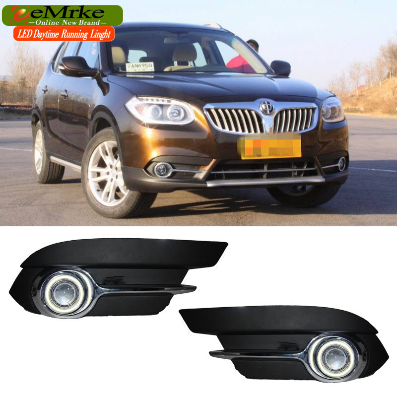 EEMRKE For Brilliance V5 LED Angel Eye DRL H3 55W Halogen Yellow Fog Lights Lamp Daytime Running Light eemrke led angel eye drl for mazda 6 2003 2008 daytime running lights h11 55w halogen fog light lamp kits