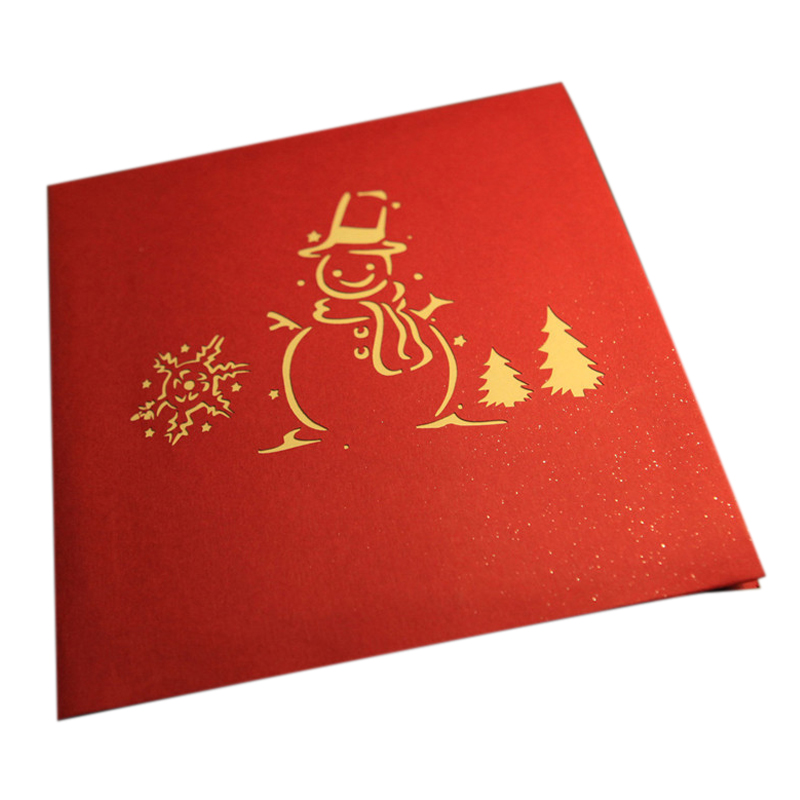 Perfect-3D Christmas card snowman and tree