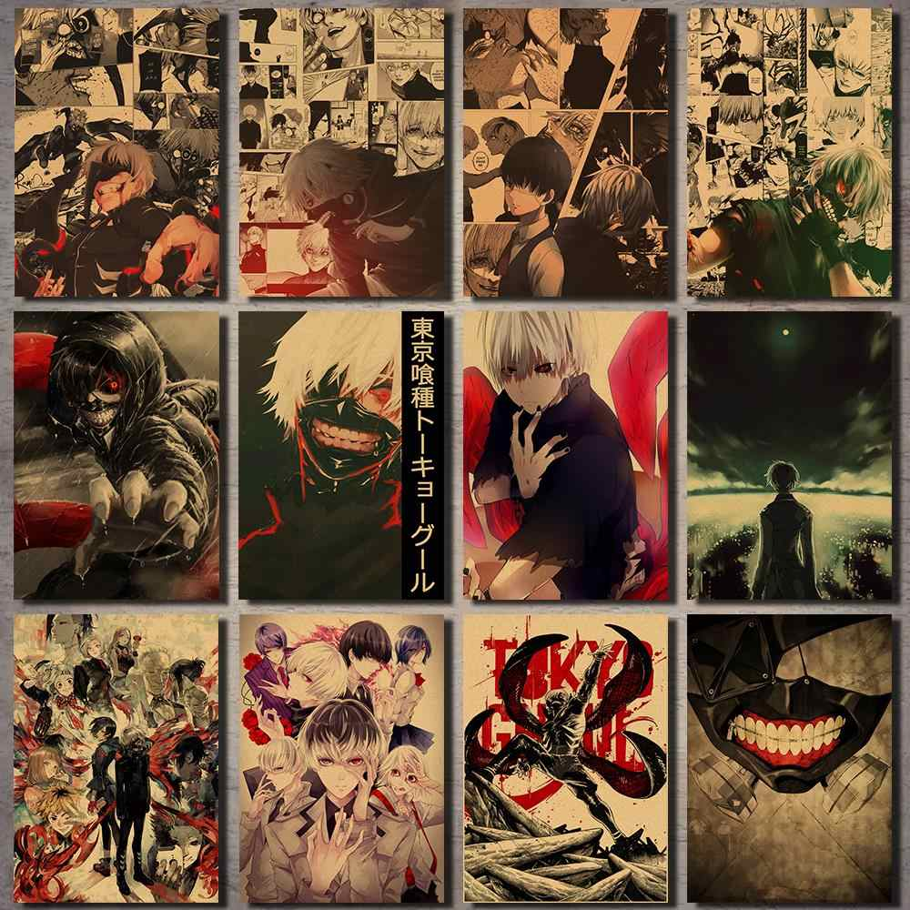 Tokyo Ghoul Anime Poster Vintage Wall Sticker Bar Decoration Painting Poster Kraft Paper Poster Vintage Wall Sticker