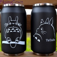 Totoro Cup Stainless Steel Vacuum Cup Hayao Miyazaki Cartoon Can Glass Anime Gifts 2014 New Double
