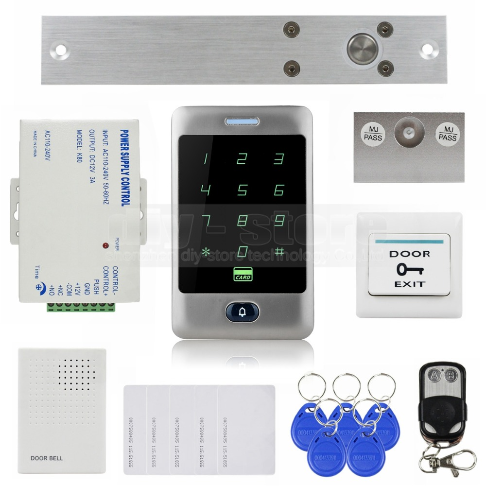 DIYSECUR 125KHz RFID Reader Password Keypad + Electric Bolt Lock + Door Bell +Remote Control Door Access Control Security System raykube glass door access control kit electric bolt lock touch metal rfid reader access control keypad frameless glass door