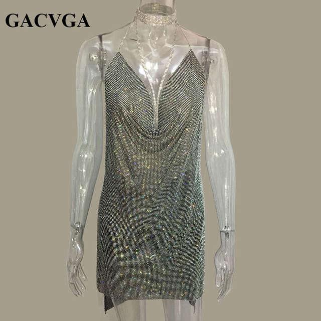 8194c227237 US $35.48 39% OFF| GACVGA 2019 Crystal Diamond Summer Dress Slits Sexy  Party Dresses Women Halter Vintage Beach Dress Vestido -in Dresses from  Women's ...