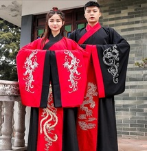 Man Lady China Stage Clothing ancient Outfit Chinese Couple Winter Hanfu Dress Large Sleeves Lovers Traditional Costume
